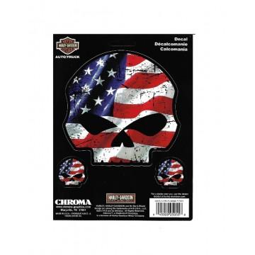 Harley-Davidson American Flag Willie G. Skull Decal