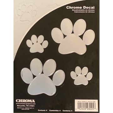 Paw Prints Chrome Embossed Decals