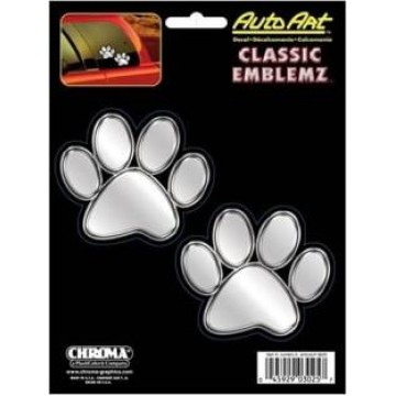 Paw Prints Chrome Embossed Decal