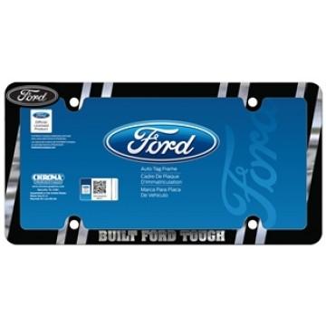Ford Built Tough Black And Chrome Metal License Plate Frame