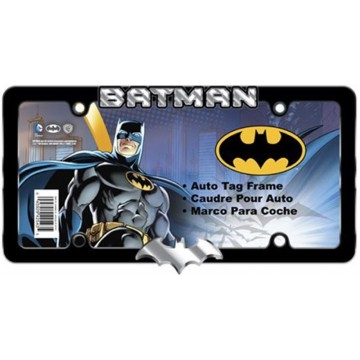 Batman Text And Logo Black License Plate Frame