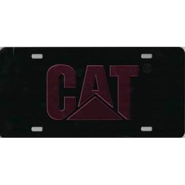 Caterpillar Black Laser License Plate