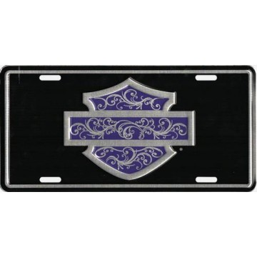 H-D Bar & Shield Purple Filigree  Metal License Plate