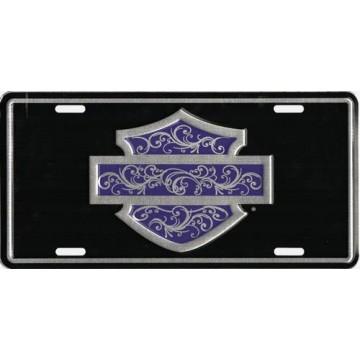 H-D Bar & Shield Purple Filigree  Metal License Plate
