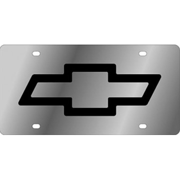 Chevy Bowtie Silver Laser License Plate