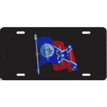 Georgia State Flag on Black License Plate