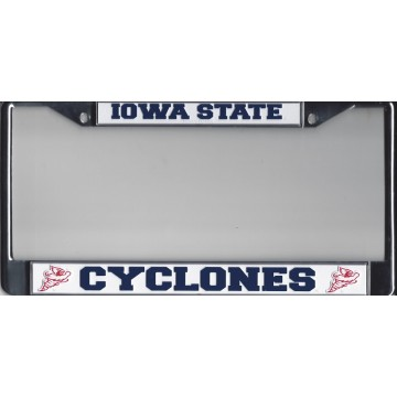 IOWA STATE  CYCLONES  Chrome w/White/Blue  License Plate Frame