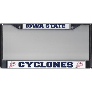 IOWA STATE  CYCLONES  Chrome w/White/Blue  License Plate Frame