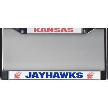 KANSAS  JAYHAWKS Chrome w/White/Red/Blue  License Plate Frame