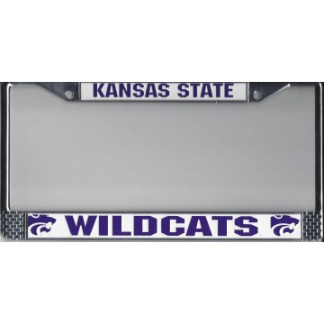 KANSAS STATE  WILDCATS  Chrome w/White/Purple  License Plate Frame