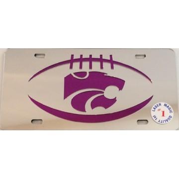 Kansas State Wildcats Silver Laser License Plate