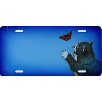 Cat With Butterfly Offset Airbrushed License Plate