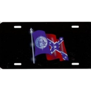 Georgia Flag on Black Airbrush License Plate