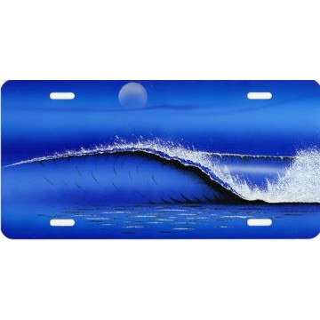 Big Wave On Blue Airbrush License Plate