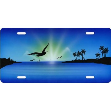Birds In Flight On Blue Airbrush License Plate