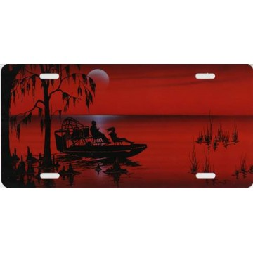 Airboat Offset On Red Airbrush License Plate