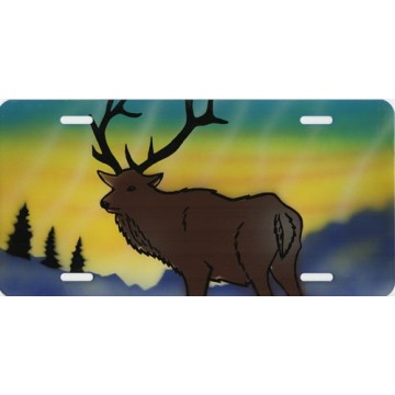 Elk On Multicolor Airbrush License Plate