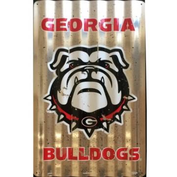 Georgia Bulldogs Corrugated Metal Sign