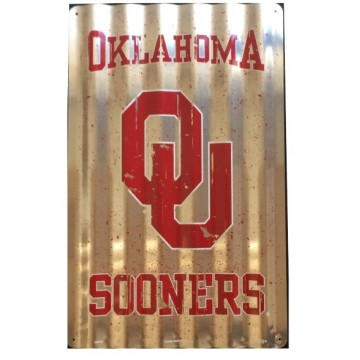 Oklahoma Sooners Corrugated Metal Sign
