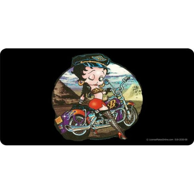 Biker Betty Boop Photo License Plate