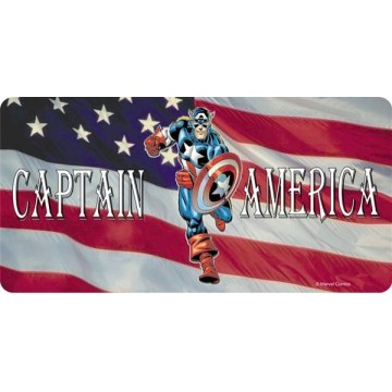 Captain America on American Flag Photo License Plate
