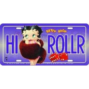 Betty Boop HI ROLLER Metal License Plate