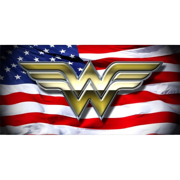 Wonder Woman On American Flag Photo License Plate