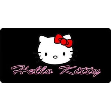 Hello Kitty On Black Photo License Plate
