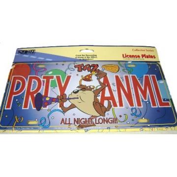 Taz PRTY ANML Metal License Plate