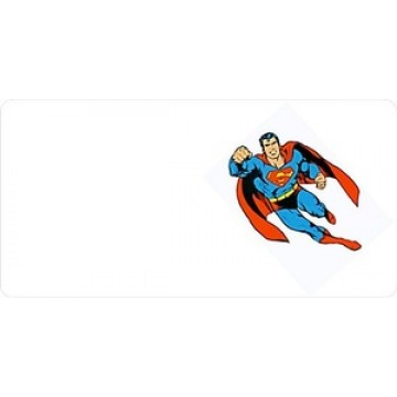 Superman Offset On White Photo License Plate