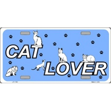 Cat Lover On Blue Metal License Plate