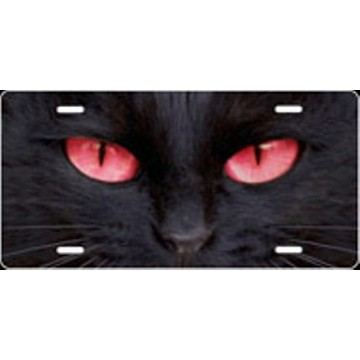 Cat Eyes Red Airbrush License Plate