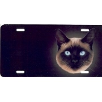 Blue Eyed Siamese Cat Airbrush License Plate