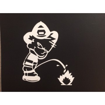 "Calvin On Fire White 3"" x 4"" Decal"