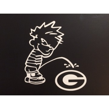 "Calvin On Green Bay Packers White 4"" x 4"" Decal"