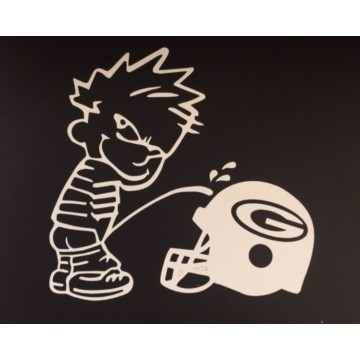 "Calvin On GB Packer Helmet White 5"" x 5"" Decal"