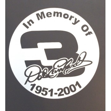 "Dale Earnhardt In Memory #3 White  4""  Dia. Decal"