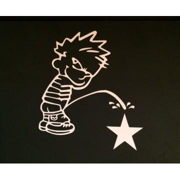 "Calvin On Dallas Cowboys Star White 4"" x 4"" Decal"