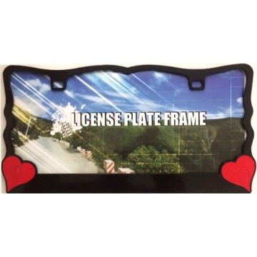 Red Hearts On Black License Plate Frame