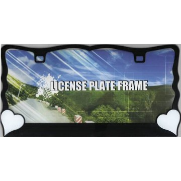 White Hearts On Black License Plate Frame