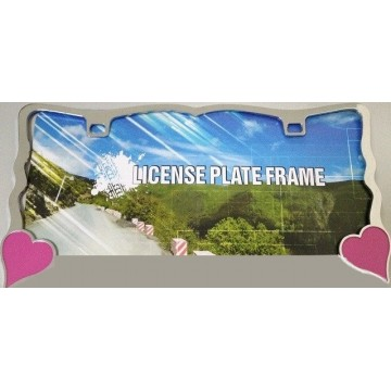 Pink Hearts On Chrome License Plate Frame