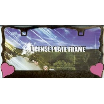 Pink Hearts On Black License Plate Frame