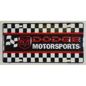 Dodge Motorsports Checker Flag License Plate