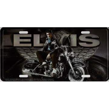 Elvis On Motorcycle With Wings Metal License Plate