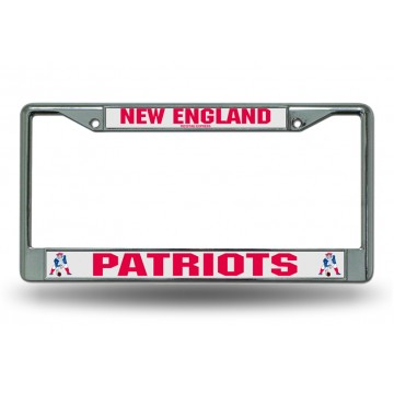 New England Patriots Retro Logo Chrome License Plate Frame
