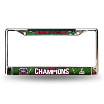 New England Patriots Super Bowl Champs Chrome License Plate Frame