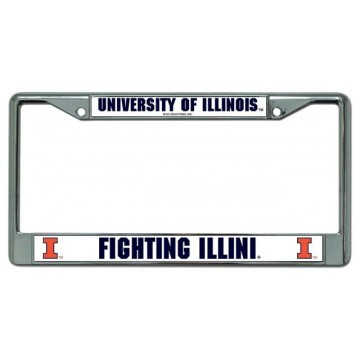 University Of Illinois Fighting Illini Chrome License Plate Frame