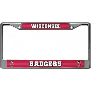 Wisconsin Badgers Glitter Chrome License Plate Frame