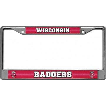 Wisconsin Badgers Glitter Chrome License Plate Frame