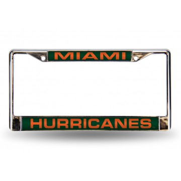 Miami Hurricanes Laser Chrome License Plate Frame